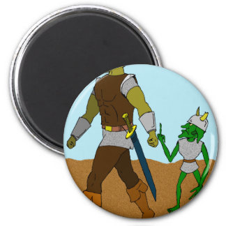 Goblin and Orc (landscape) 2 Inch Round Magnet
