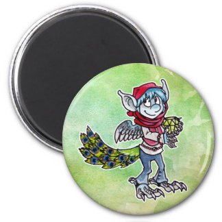 Goblin del pavo real imán redondo 5 cm