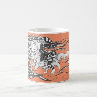 Goblin Dog Fish, Dare to Dream, Orange Coffee Mug