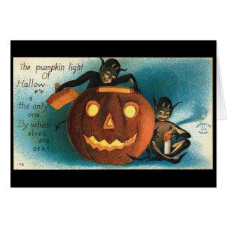 Goblin Gremlin Jack O Lantern Vintage Image Greeting Card