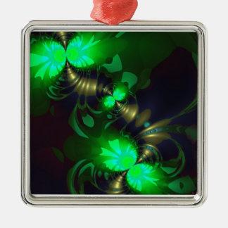 Goblin irlandés - cintas de la esmeralda y del oro adorno cuadrado plateado
