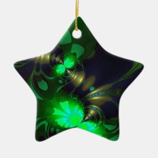 Goblin irlandés - cintas de la esmeralda y del oro adorno de cerámica en forma de estrella