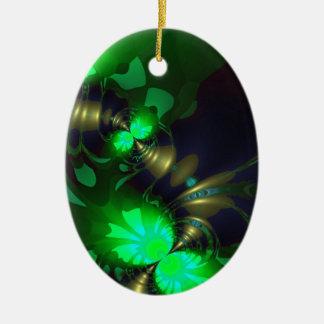 Goblin irlandés - cintas de la esmeralda y del oro adorno ovalado de cerámica