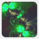 Goblin irlandés - cintas de la esmeralda y del oro colcomania cuadrada