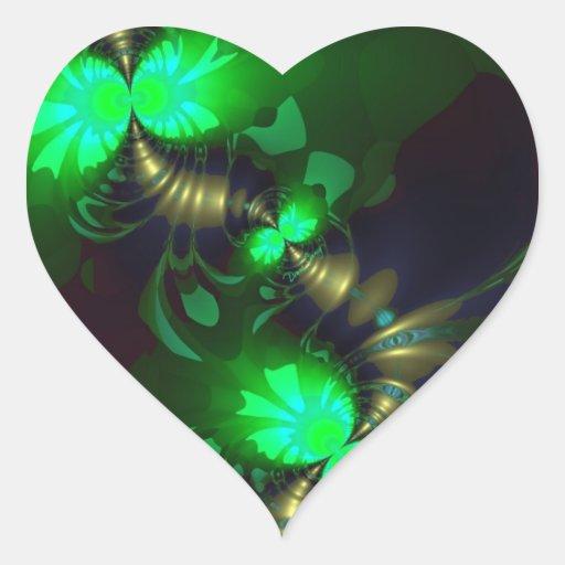 Goblin irlandés - cintas de la esmeralda y del oro pegatina en forma de corazón