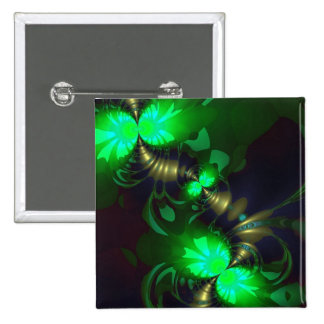 Goblin irlandés - cintas de la esmeralda y del oro pin cuadrado