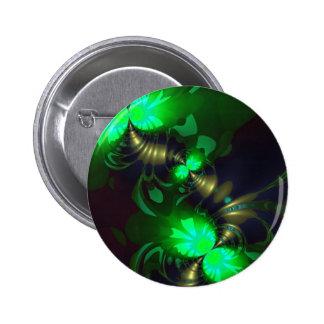 Goblin irlandés - cintas de la esmeralda y del oro pin redondo de 2 pulgadas
