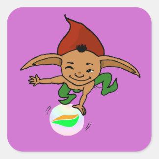 Goblin juguetón pegatina cuadrada