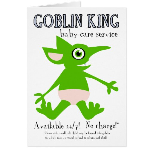 Goblin King Baby Care Service Greeting Card