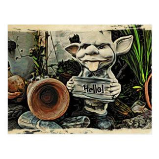 Goblin Placard Hello Postcard