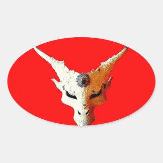 Goblin rojo lleno de la luna por Cantillon de Colcomanias Óval Personalizadas