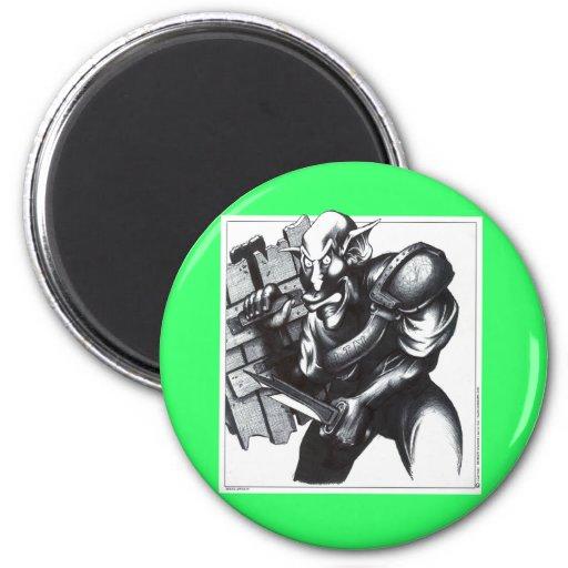 Goblin Warrior 2 Inch Round Magnet