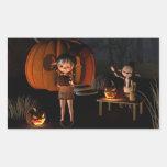 Goblins de Halloween con la casa de la calabaza Pegatina Rectangular