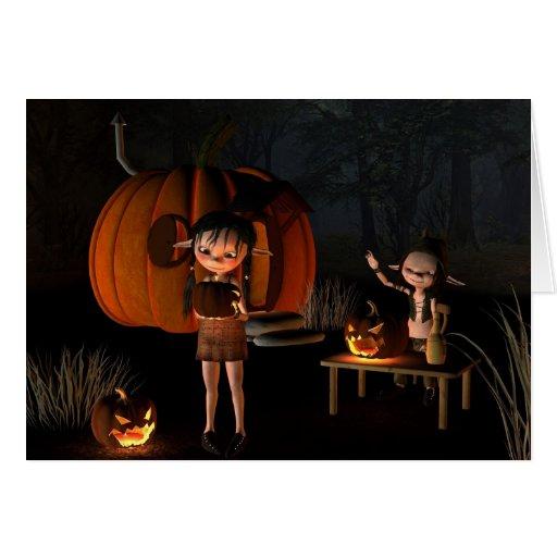 Goblins de Halloween con la casa de la calabaza Tarjeton