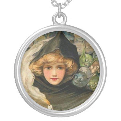 Goblins Peeking Vintage Halloween Necklace