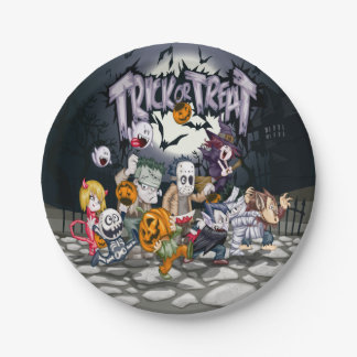 Goblins Trick Or Treat 7 Inch Paper Plate