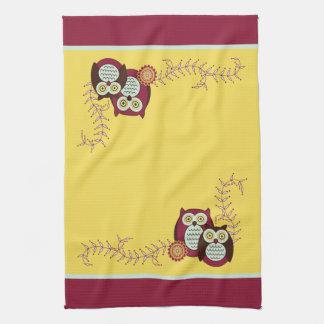 Goce de la toalla de cocina de los búhos de la sol