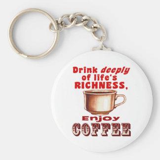 Goce del café llavero redondo tipo pin
