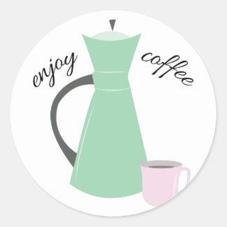 Goce del café pegatina redonda