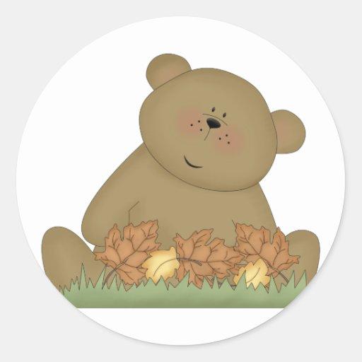 goce del oso de peluche del otoño pegatina redonda