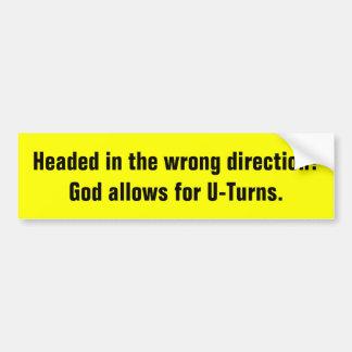 God Allows U-Turns Religious bumper sticker Car Bumper Sticker