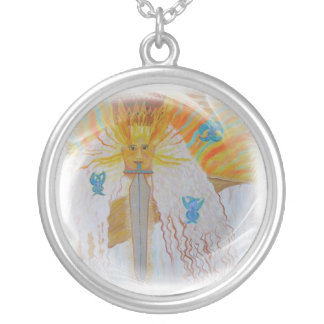 God Ancient of Days as in bible Christian Round Pendant Necklace