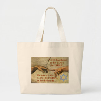 God...and Man...lend a hand for Israel Large Tote Bag