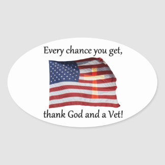God And Vet Oval Stickers