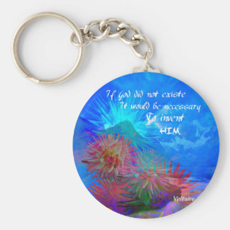 God and Voltaire in a blue sky. Keychain