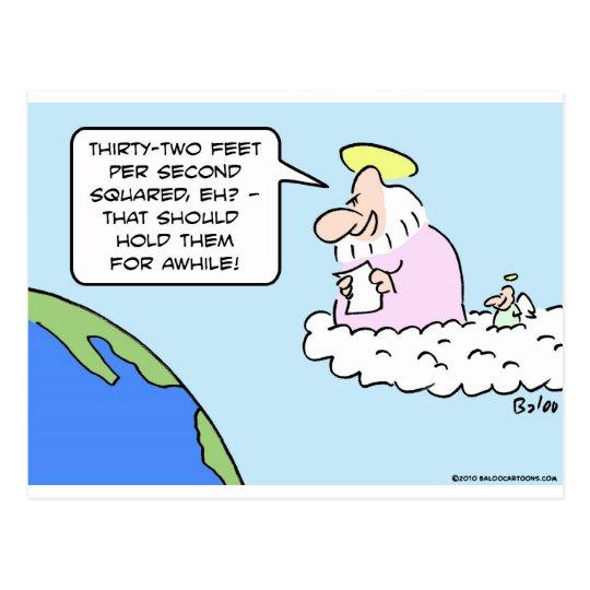 god angel earth gravity thirty two feet per second postcard