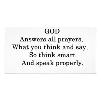 GOD ANSWERS ALL  PRAYERS PHOTO CARD