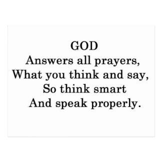 GOD ANSWERS ALL  PRAYERS POSTCARD