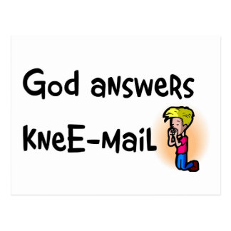 God answers kneE-mail christian gift Postcard