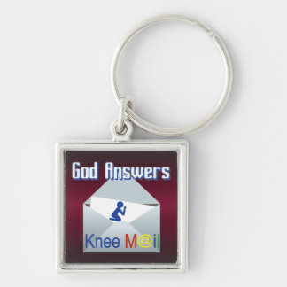 God Answers Knee Mail Keychain