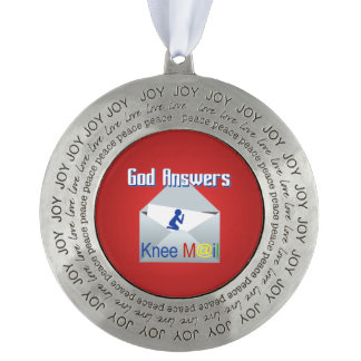God Answers Knee Mail Round Ornament