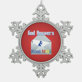 God Answers Knee Mail Snowflake Ornament