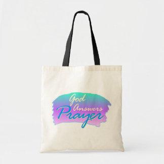 God answers prayer christian design tote bag