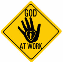 GOD AT WORK. HEALING HAND LOVE HEART CROSS JESUS STATUETTE