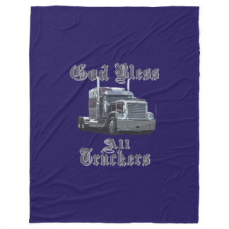God Bless All Trucker Fleece Blanket
