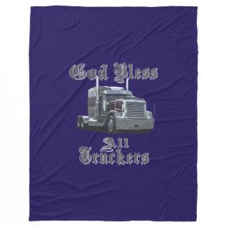 God Bless All Trucker Fleece Blanket