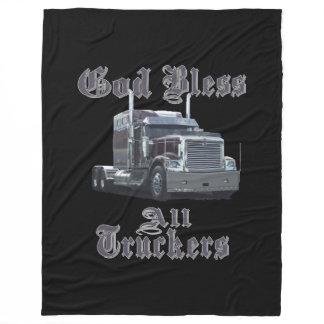 God Bless All Truckers Fleece Blanket