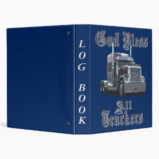 God Bless All Truckers Log Book Binder
