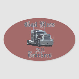 God  Bless All Truckers Oval Sticker