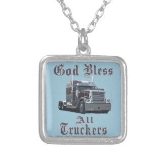 God  Bless All Truckers Silver Plated Necklace