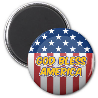 God Bless America 2 Inch Round Magnet