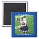 God Bless America 2 Inch Square Magnet