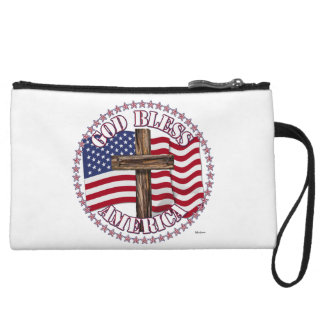 God Bless America and Cross With USA Flag 50 Stars Wristlet Clutches