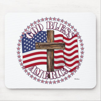 God Bless America and Cross With USA Flag 50 Stars Mouse Pads