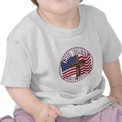 God Bless America and Cross With USA Flag 50 Stars T Shirts