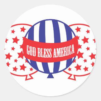 God Bless America balloons Classic Round Sticker
